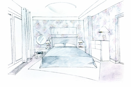 roomy: sketch of a roomy bedroom with a big bed and other furniture Stock Photo