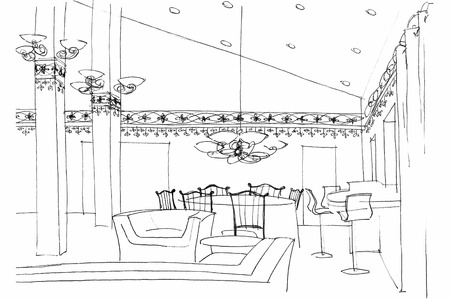 design drawing: graphic fragment of a cafe interior with furniture, lighting equipment, and decoration Stock Photo