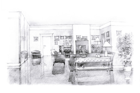 interior design living room: interior freehand black and white picture of a lounge area with a fireplace
