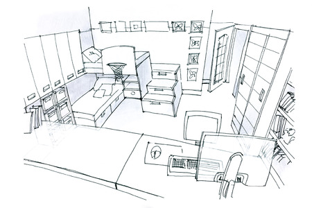 kid s illustration: hand drawing of a room for children in black and white from the top