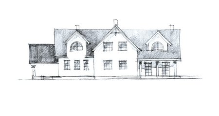 two storey: sketch of a two storey house front with columns Stock Photo
