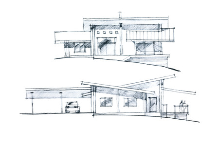 verandah: freehand sketch of a residential place with verandah and parking places