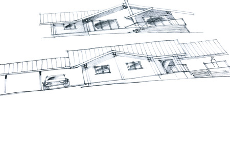 variation: workplace of an architect with crayon pictures of a house plan variation