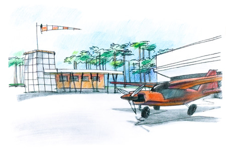 piloting: hand drawing of an airfield for small aircraft with plane and hangar