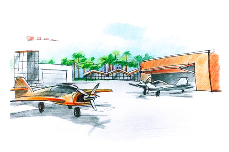 airfield: sketch of an airfield for small aircraft with planes and hangar Stock Photo