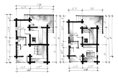plan: graphic picture of a house plan with calculations