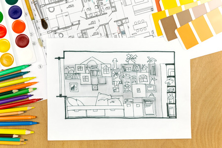 color guide: architects desk with living room sketch, plan, color guide and drawing tools