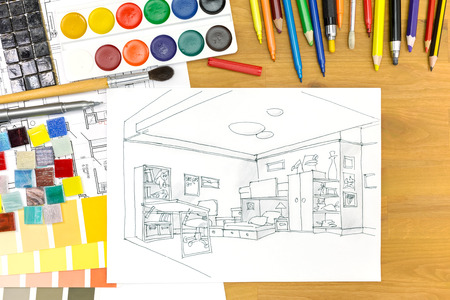 kids' room: interior designers desk with architectural tools and a kids room sketch