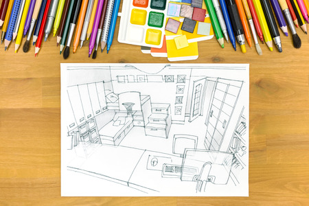 interiors design: architectural planning of interiors design on a desk with painting tools