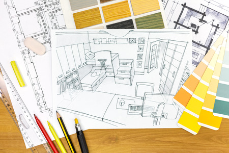 design drawing: picture of designers desk with childrens room sketch and drawing tools Stock Photo