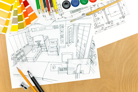 color samples: color samples and drawing tools on a designers desk background