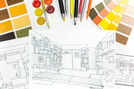 house plan: color samples catalog for selection with house plan pictures on the background