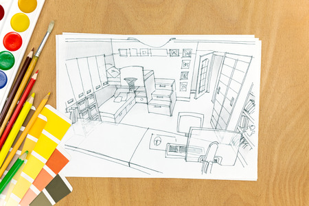 paint samples: picture of a modern creative workspace with sketch, paint, pencils and color samples Stock Photo