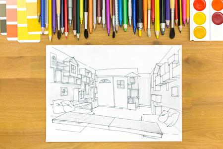 Muestras De Color Y Herramientas De Dibujo Sobre Un Fondo De ...
