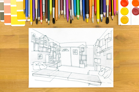 color samples: sketch with color samples and painting tools for interior works on wooden desk background Stock Photo