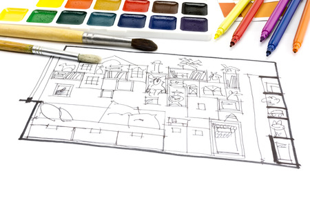 color samples: color samples catalog for selection, markers, and living room plan picture Stock Photo