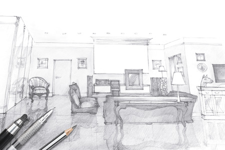 building sketch: architects workspace picture with living room sketch and painting tools