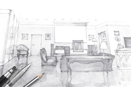 boceto: foto arquitectos espacio de trabajo con el bosquejo sala de estar y herramientas de pintura Foto de archivo