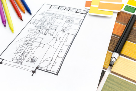 interiors design: architectural planning of interiors design with color templates and markers