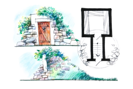 food storage: architect crayon sketch of a cellar for food storage in a country house from different angles