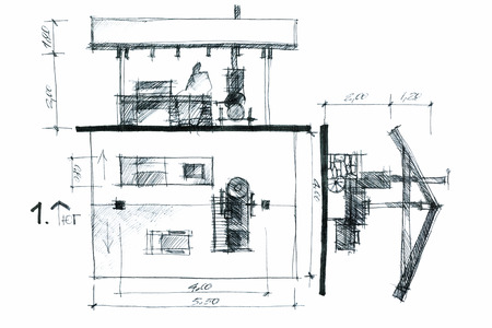 residential zone: hand drawing of a barbeque area concept with a roof and verandah Stock Photo