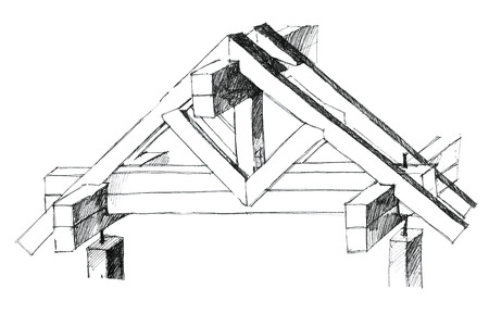 constructional: detailed picture of a building elements of a roof as a concept