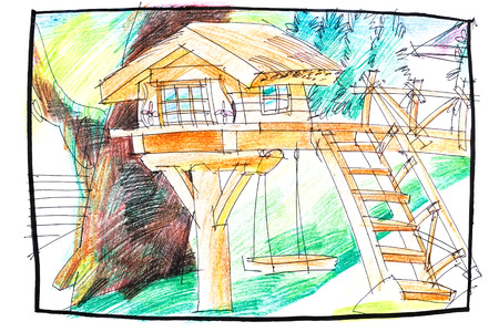 tree house: crayon illustration of a tree house plan for kids with wooden elements and stairs