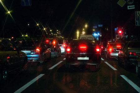 traffic jams: Evening traffic jams in the city. Rush hour.