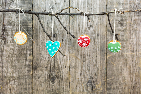 gingerbread cookies: christmas homemade gingerbread cookies on wooden background Stock Photo