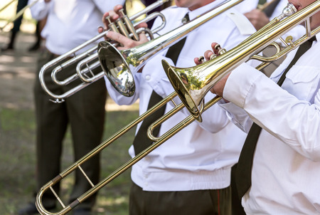 brass: military brass band musicians with gold trombones