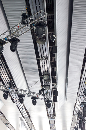 professional lighting: professional lighting equipment on theater stage lighting rig Stock Photo
