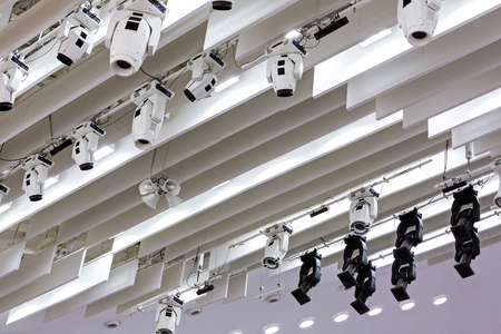 professional lighting: professional lighting equipment near ceiling of theater stage