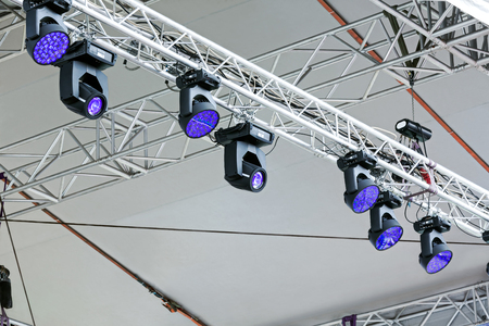 professional lighting: professional lighting equipment under roof of outdoor stage