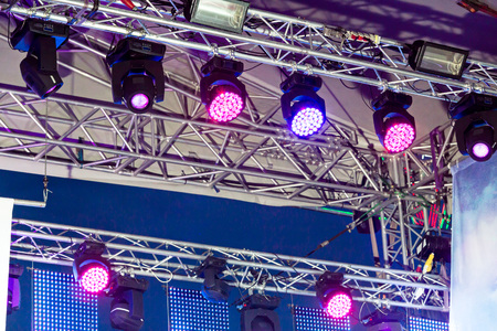 Lighting equipment under roof of outdoor concert stage stock photo many stage lights near ceiling of outdoor concert stage photo workwithnaturefo