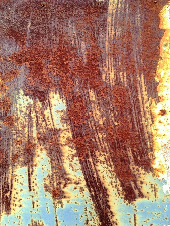 metal: Blue painted metal with rust texture