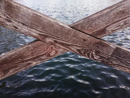 bannister: fragment wooden foot bridge closeup