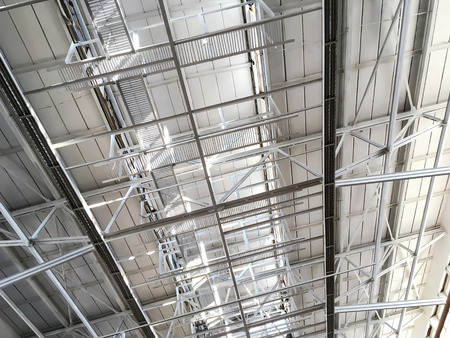 roof structure: metal roof structure of industrial building with steel beams
