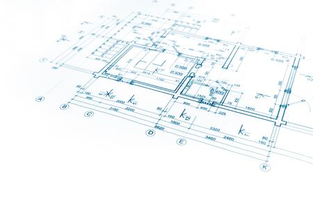 Huisplan blauwdruk, technische tekening, een deel van architecturaal project Stockfoto - 57394809