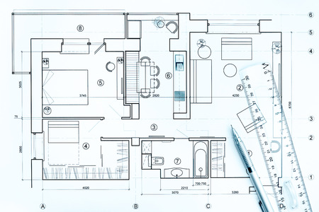Blueprint floor plans architectural drawings construction 57394831 architects workspace with house blueprint pencil and ruler malvernweather Image collections