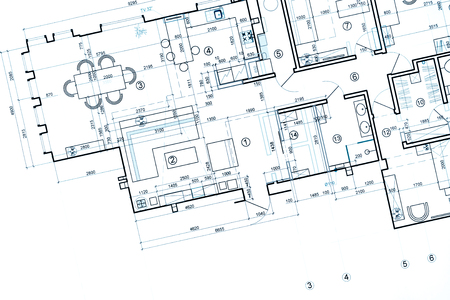 blueprint floor plans, architectural drawings, construction background 스톡 콘텐츠