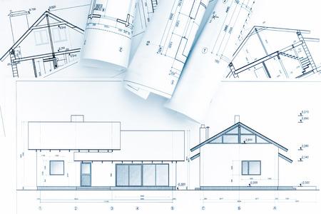 piani di costruzione della casa e rulli di progetto architettonici