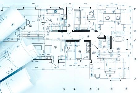 plan architectural, rouleaux et dessin de projet technique