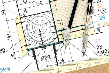 compas de dibujo: detalles del proyecto arquitectónico o técnico con el compás de dibujo