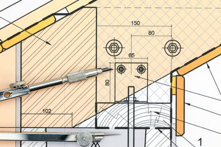 compas de dibujo: drawing compass on color technical drawing top view