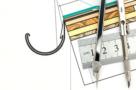 compas de dibujo: dibujo del proyecto t�cnico con el comp�s y la regla de metal de dibujo