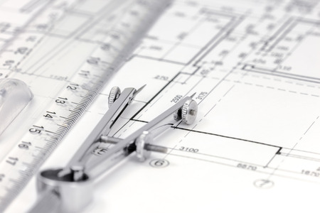compas de dibujo: architect workspace with floor plan, drawing compass and ruler