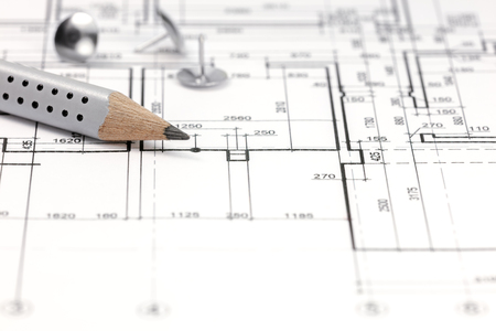 floor plan: architectural background with floor plan and pencil closeup Stock Photo