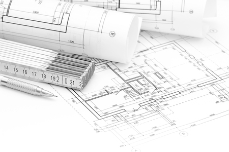 Architectural background with plan blueprint rolls folding stock 58918203 architect workspace with plan blueprint rolls folding rule and pencil malvernweather Images