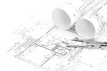 floor plan: architectural drawings with floor plan and drawing compass