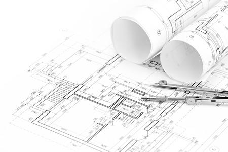 compas de dibujo: dibujos de arquitectura de planta y compás de dibujo Foto de archivo